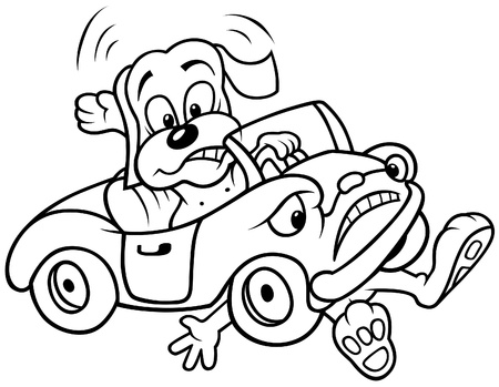 Dog and Car Crash - Black and White Cartoon illustration, Vector Stock Vector - 8756006