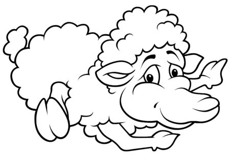 Laying Sheep - Black and White Cartoon illustration, Vector Stock Vector - 8756067