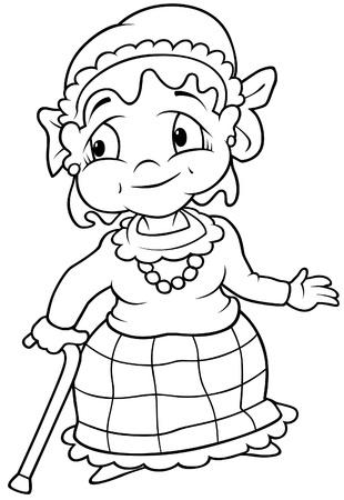 grannie: Grandmotner - Black and White Cartoon illustration, Vector