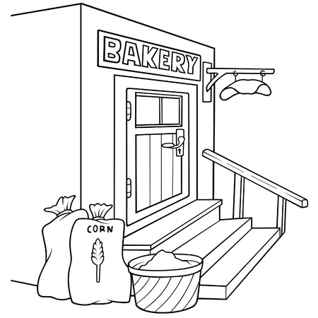 pastry shop: Bakery - Black and White Cartoon illustration, Vector