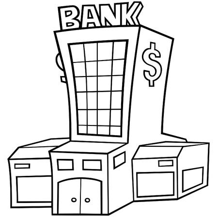 edificio banco: Banco - ilustraci�n de dibujos animados de blanco y negro, Vector