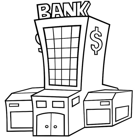 Bank - Black and White Cartoon illustration, Vector 矢量图像