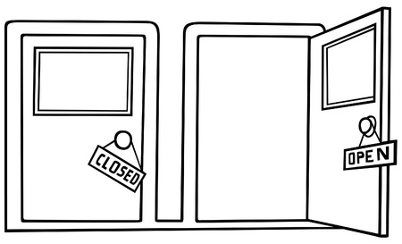 Door Open and Close - Black and White Cartoon illustration, Vector Vector