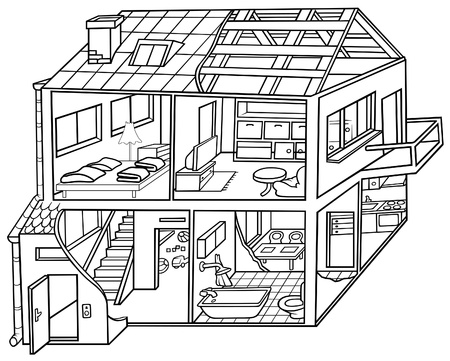 house illustration: Dwelling House - Black and White Cartoon illustration, Vector Illustration