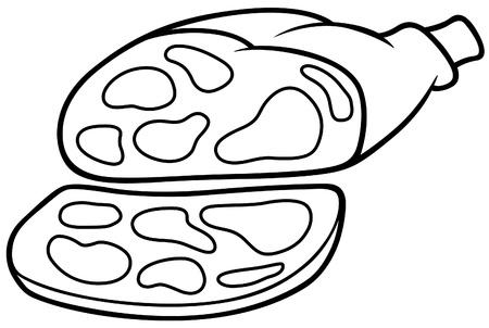 Jamón de cerdo - ilustración de dibujos animados de blanco y negro, Vector