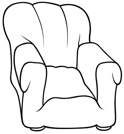 chair cartoon: Armchair - Black and White Cartoon illustration, Vector