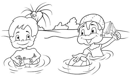 ni�as ba�andose: Los ni�os ba�o - ilustraci�n de dibujos animados de blanco y negro, Vector