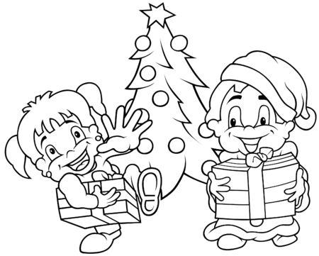Children Christmas - Black and White Cartoon illustration, Vector Stock Vector - 8756087