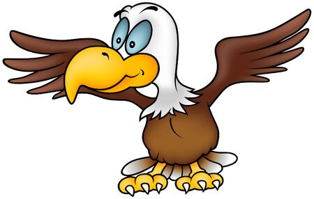 hand drawn wings: Eagle volante - illustrazione cartoon colorato, vector