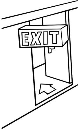 Exit Door - Black and White Cartoon illustration, Vector Stock Vector - 8756097