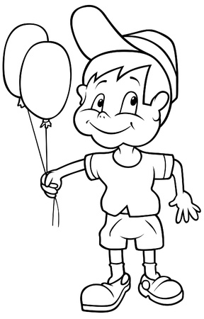 Boy with Balloons - Black and White Cartoon illustration, Vector