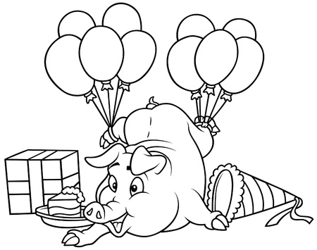 cartoons sweet: Piglet and Celebration - Black and White Cartoon illustration, Vector