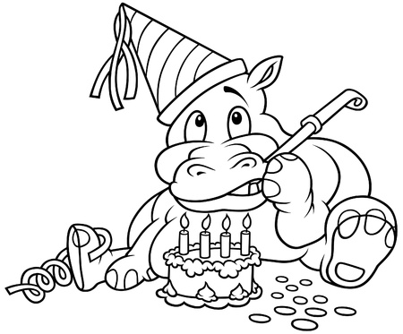 Hippo and Cake - Black and White Cartoon illustration, Vector Vector
