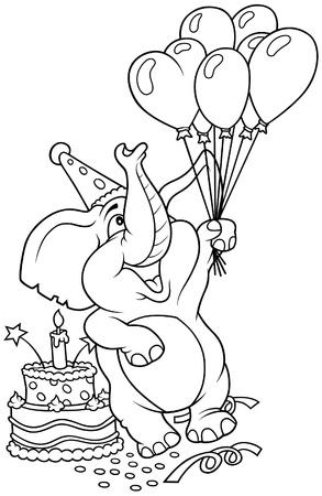 caricaturas de animales: Elefante y feliz cumplea�os - ilustraci�n de dibujos animados de blanco y negro, Vector