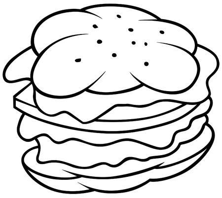 snack cartoon: Hamburger - Black and White Cartoon illustration, Vector