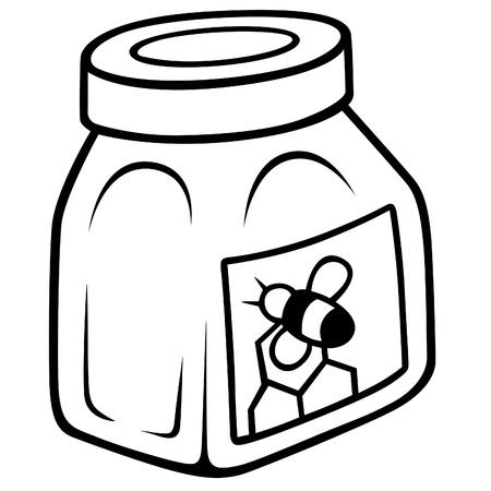 cartoons sweet: Honey in the glass jar - Black and White Cartoon illustration, Vector