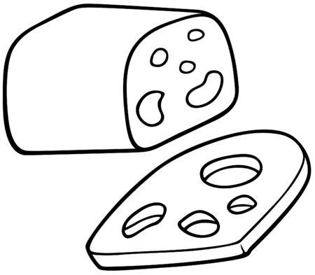edam: Edam Cheese - Black and White Cartoon illustration, Vector