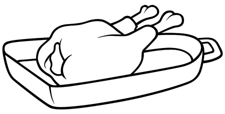 Roast Chicken - Black and White Cartoon illustration, Vector Stock Vector - 8756114