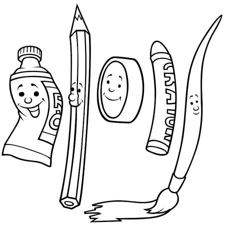 tempera: Drawing Set 1 - Black and White Cartoon illustration, Vector