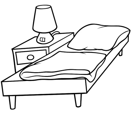 bedside lamp: Bed and Bedside - Black and White Cartoon illustration, Vector