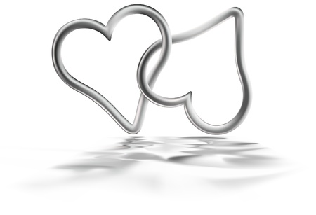 entwined: Two Silver Hearts - colored illustration, vector