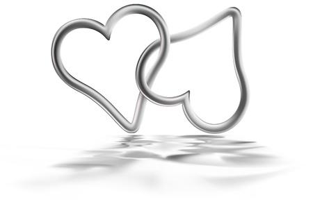 Zwei silberne Herzen - farbiger Abbildung, Vektor