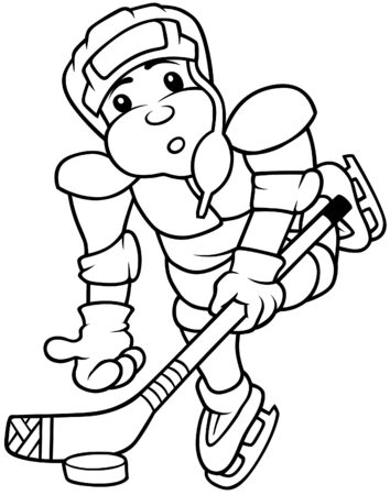 Hockey Player - Black and White Cartoon illustration, Vector Vector