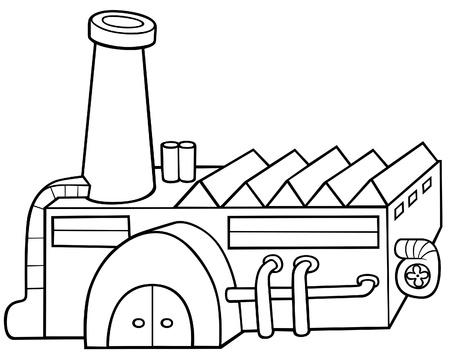 Fábrica - ilustración de dibujos animados de blanco y negro, Vector Ilustración de vector