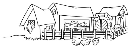 barn black and white: Farm - Black and White Cartoon illustration, Vector