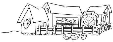 Farm - Black and White Cartoon illustration, Vector Stock Vector - 8756216