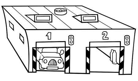 parking garage: Garage - Black and White Cartoon illustration, Vector