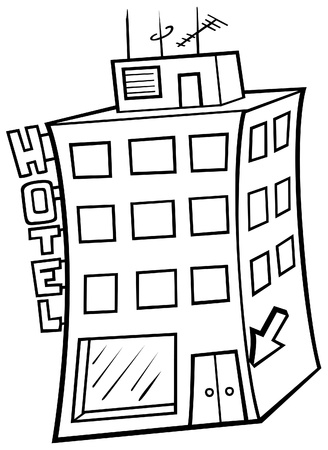 hotels building: Hotel - Black and White Cartoon illustration, Vector