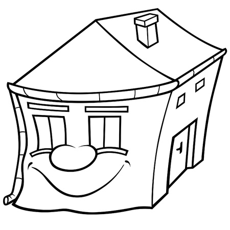 House with Face - Black and White Cartoon illustration, Vector Stock Vector - 8756227