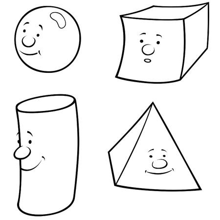 cylinder: Geometric Shapes - Black and White Cartoon illustration, Vector Illustration