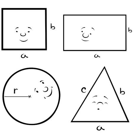 shapes cartoon: Formas geom�tricas - ilustraci�n de dibujos animados de blanco y negro, Vector