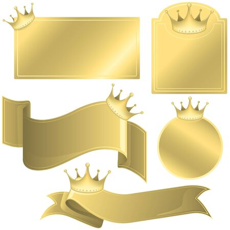 Labels with Crowns - colored illustration, vector Vector