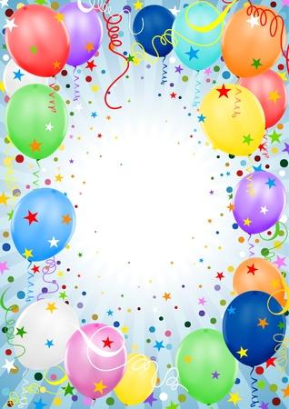verjaardag ballonen: Party ballonnen - gekleurde achtergrond afbeelding Stock Illustratie