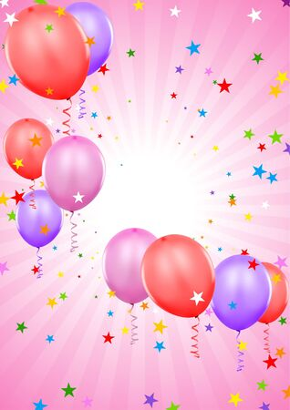 Party Balloons - colored background illustration Vector