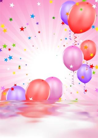globos fiesta: Partido globos - ilustraci�n de fondo con rippling efecto