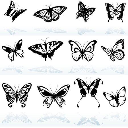 silhouette papillon: Papillon Silhouettes - illustration de couleur.