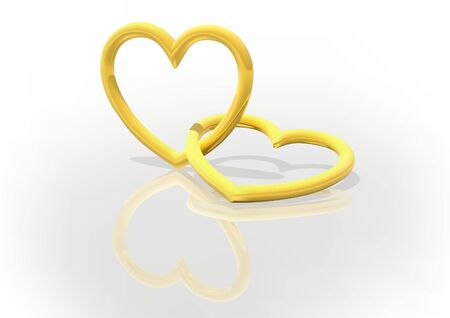 mirroring: Two Gold Entwined Hearts - background illustration