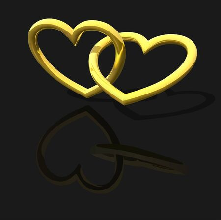 gold heart: Gold Entwined Hearts - background illustration