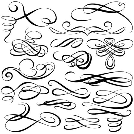calligraphic design: Calligraphic elements - black illustration Illustration