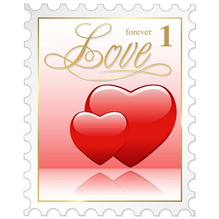 correspond: Love Stamp - colored illustration with heart