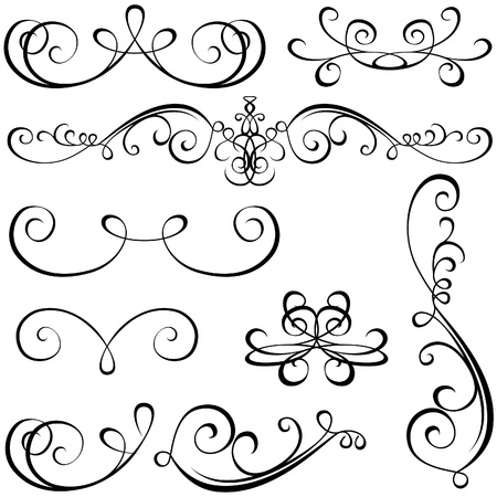 scroll up: Calligraphic elements - black design elements,  illustration vector Illustration