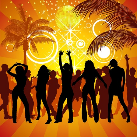 Exotic Party - colored background illustration, Vector