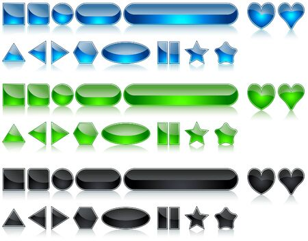 Shine Buttons Set - colored illustration Vector