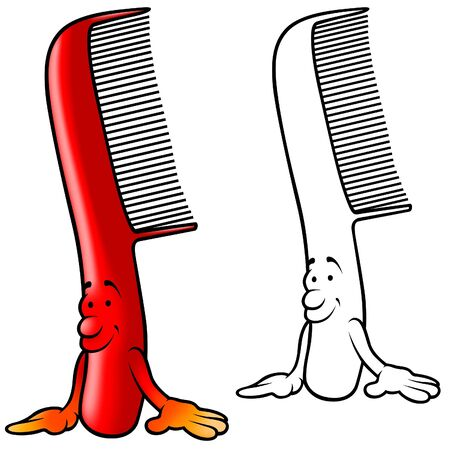 comb: Red Smiling Comb - colored cartoon illustration,