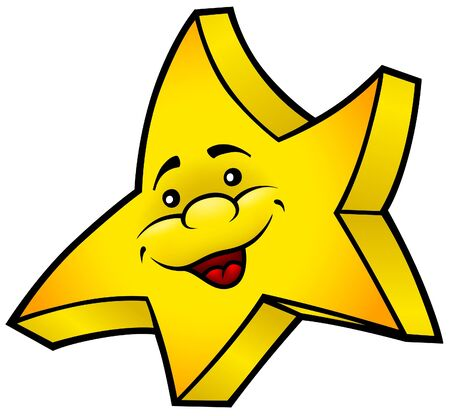 Smiling Star - colored cartoon illustration,  Vector