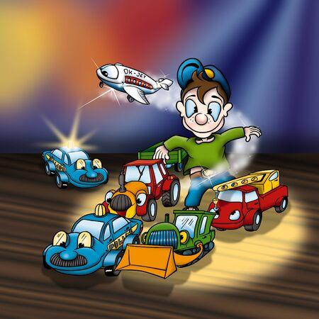 bitmap: Cartoon Toys - Cheerful Background Illustration, Bitmap